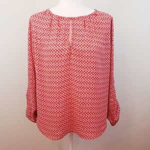 Anthro Pleione geometric peasant blouse Sz Med